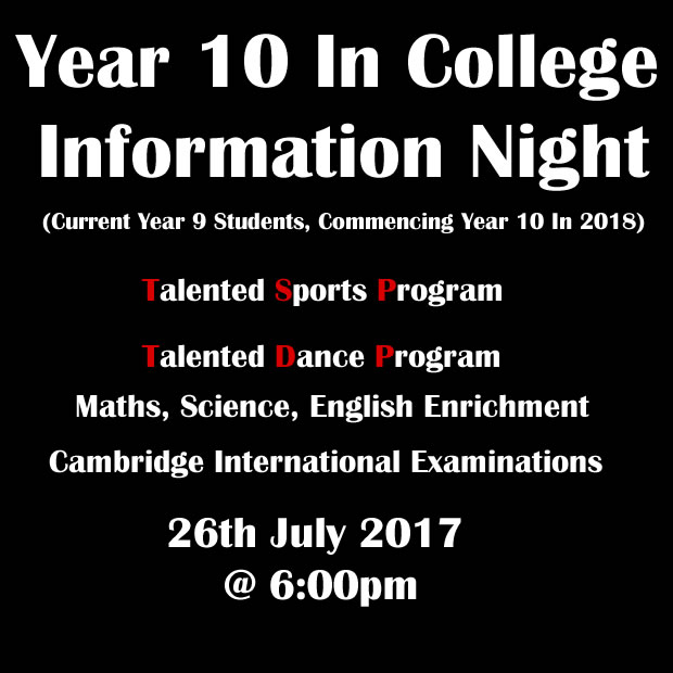 Year 10 Infomation Night 2017 - For 2018